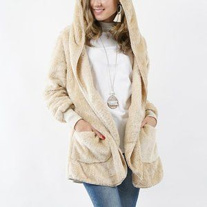 NWT Cream Teddy Cocoon Hooded Pocket Jacket M
